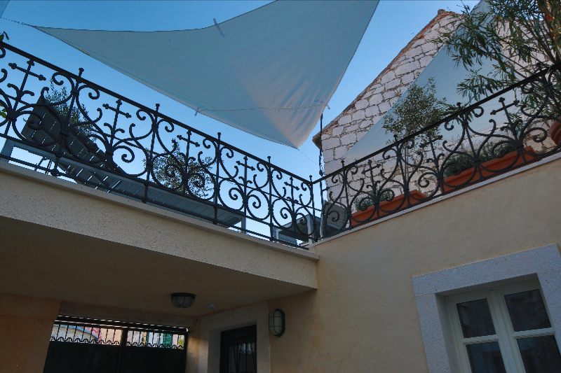 terrace from the courtyard